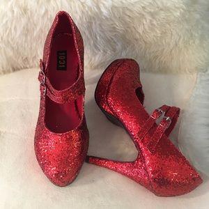 1031 Women's Glitter High Heels Straps Red SZ 5-6